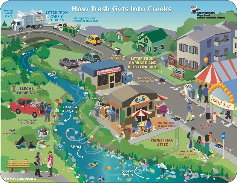diagram about how trash gets into creeks