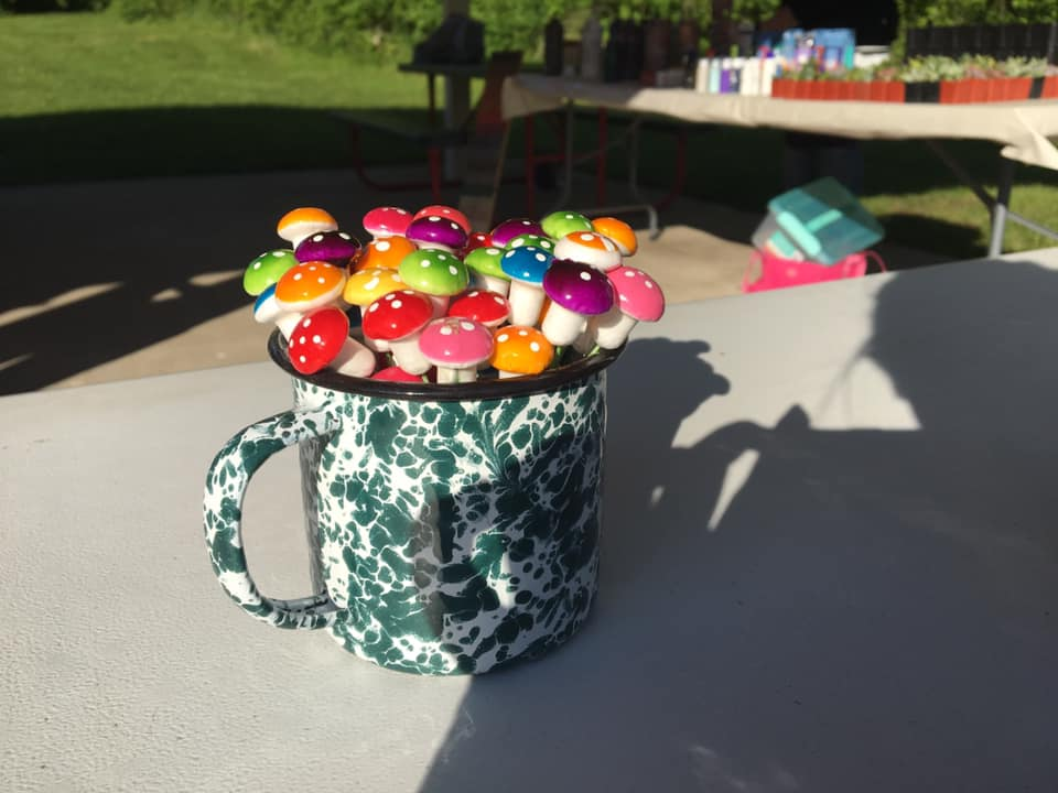 Mug of decorative mushrooms